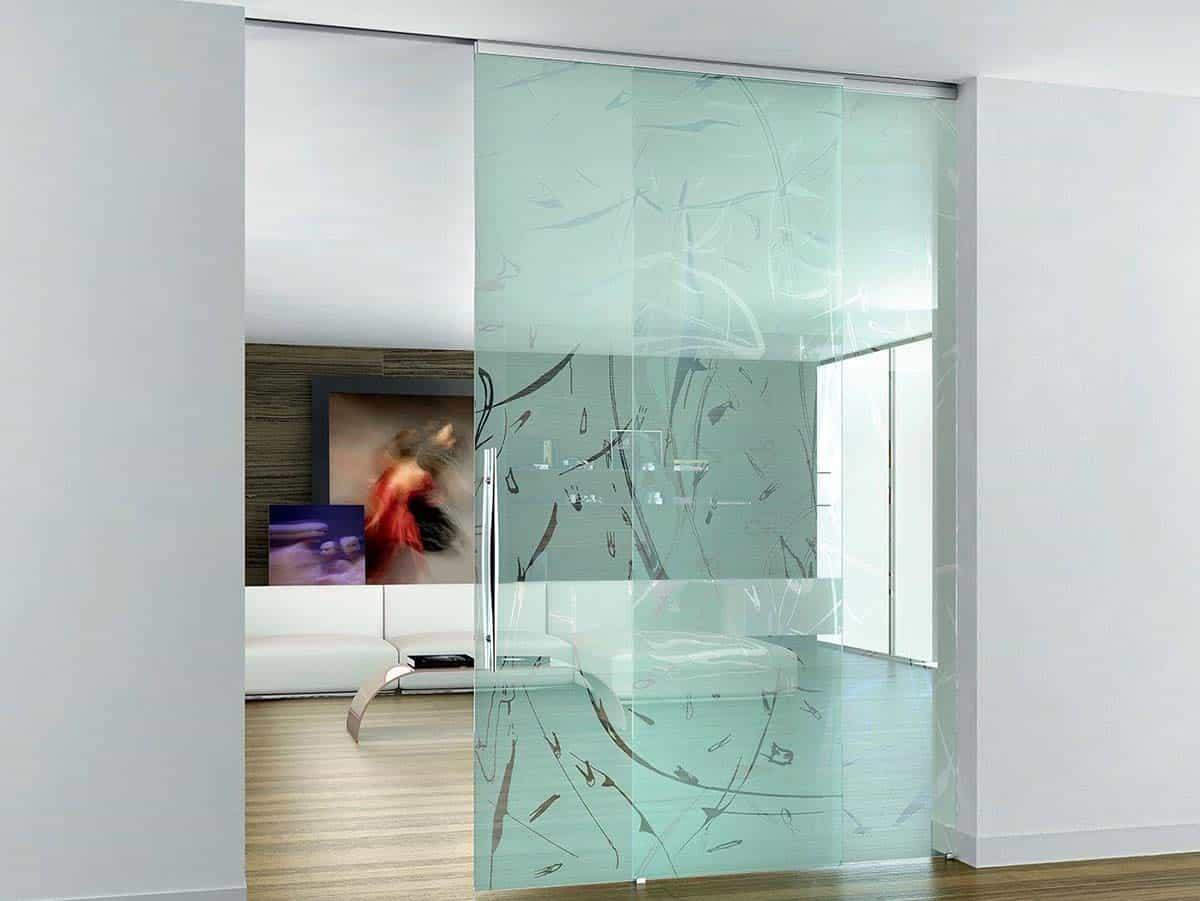 porte scorrevoli vetrate serigrafate - pareti vetrate personalizzate