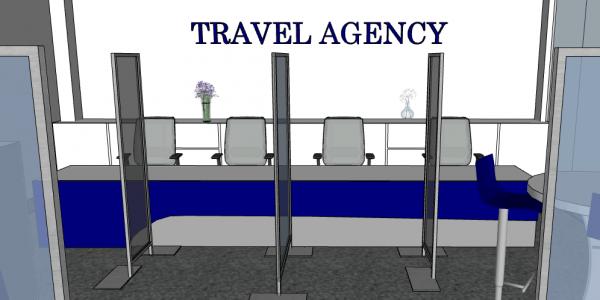 SAFE TOGETHER pannelli anti Covid 19 agenzia viaggi